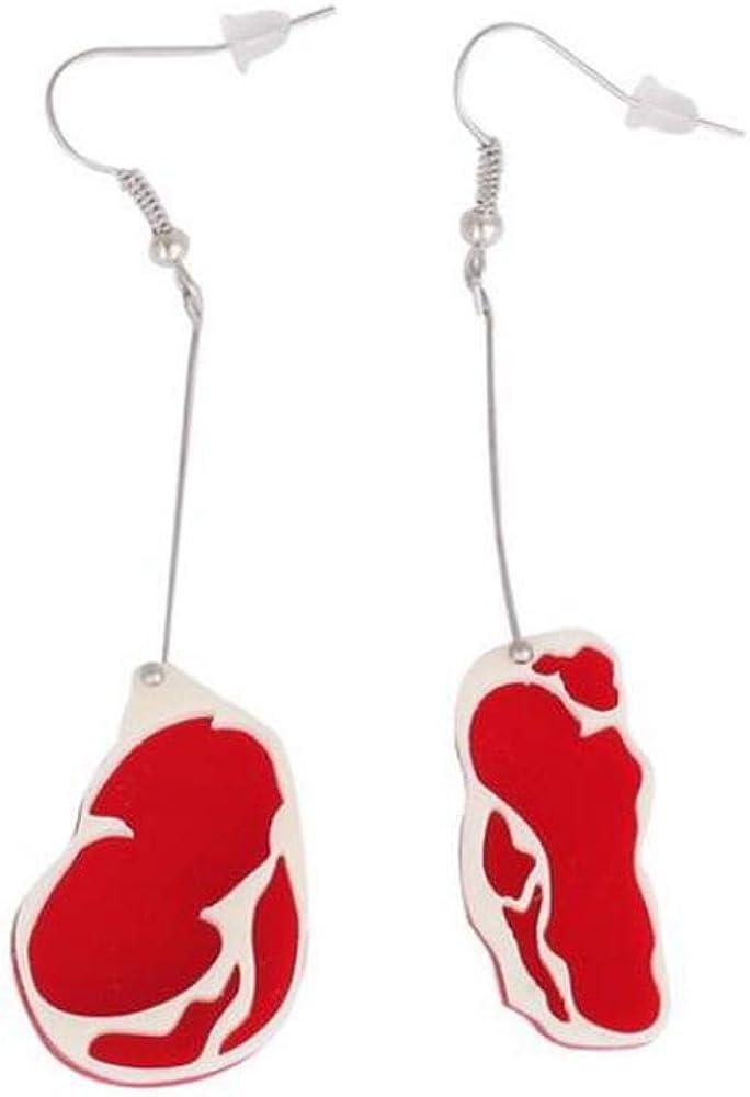 Funky Food Dangle Earrings for Women Girl Kids - Acrylic Red Meat Food Earrings Jewelry
