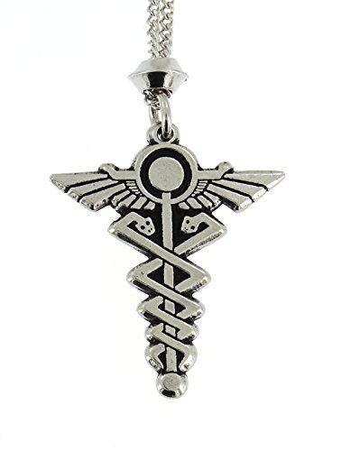 Celestial Pewter Pendant - Hermes Caduceus Egyptian God Pewter Pendant ~ 18+4 inch extender Chain