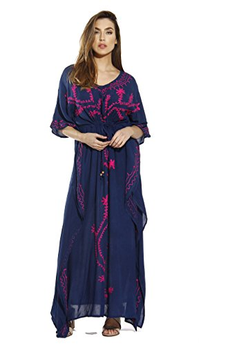 RKDENFUC-L Caftan/Caftans For Women,Dark Denim With Fuchsia Embroidery,Large (Fuchsia Embroidery)