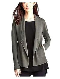 Eileen Fisher Womens Plus Silk Knit Notch Collar Cardigan Sweater