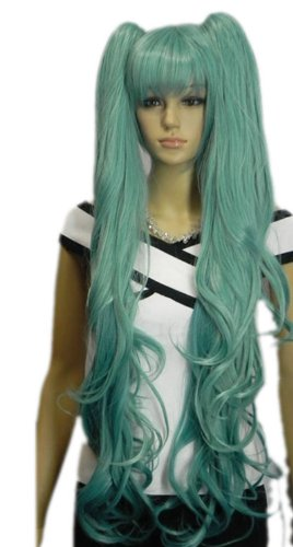 Price comparison product image Paixpays Hatsune Miku Cosplay Blue 2 Clip On Straight Ponytail Synthet wig.