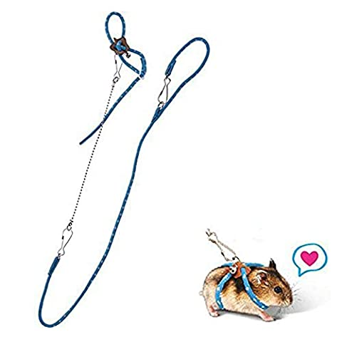 BBEART Hamster Harness,Adjustable Harness Vest Leash Hamster Chest Straps with a Small Bell Rat Mouse Squirrel Sugar Glider Small Animal (Ferret Harnesses And Leashes)