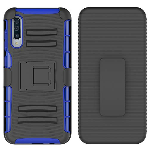 Galaxy A50 Case, UZER Heavy Duty Shock-Absorption/High Impact Resistant Armor Holster Defender Case with Kickstand + Swivel Belt Clip Holster for Samsung Galaxy A50 6.4