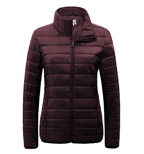Quilted Nylon Down Jacket - SUNDAY ROSE Womens Packable Jacket Lightweight Puffer Quilted Coat (2XL, Burgundy)