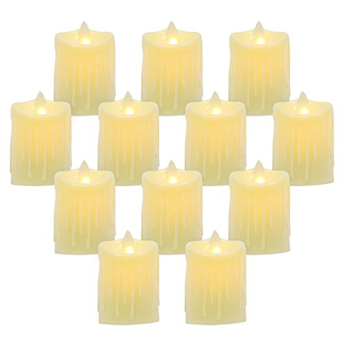 Seven Lucky Light LED Flameless Tealight Battery Operated Electronic Dancing Flame Decorative Candles with tears,Pack of 12 by Seven Lucky Light