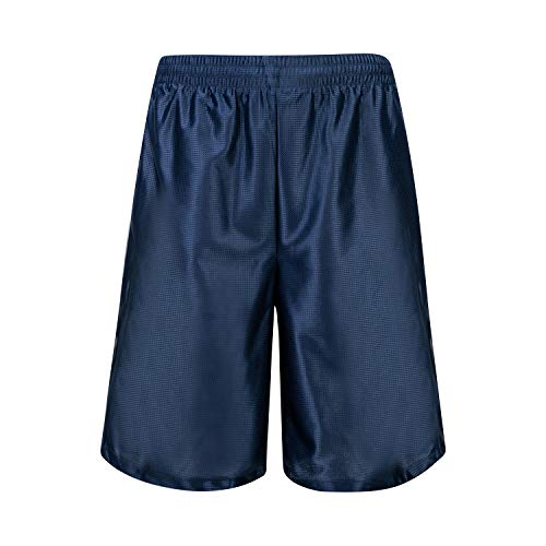 Asysst Men's Mesh Long Basketball Gym Shorts with Pockets Navy Large