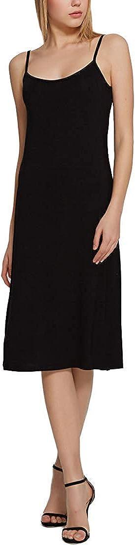 XUJI Womens Plus Size Soft Modal Full Slip O Neck Slip Basic Cami Dress Nightwear Lingerie-3 Length Options