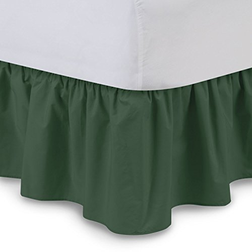 LUXURIOUS LIFE Egyptian Cotton 300 Thread Count 1 PC Tailored Single Ruffled/Dust Ruffle Bed Skirt (Moss, Queen, Drop Length 15 Inches)