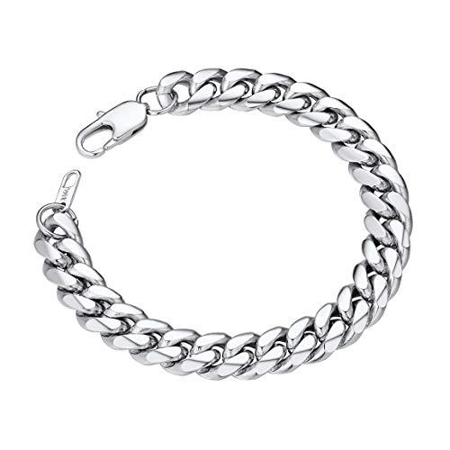 Mens Stainless Steel Bracelet 10MM 21CM Chunky Bangles Biker Wrist Bracelets