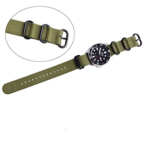 Ritche CHARLOTTE017  Nato Strap with Heavy Buckle Replacement Timex Weekender Watch Band, 20 mm, Army Green / Black Photo #3