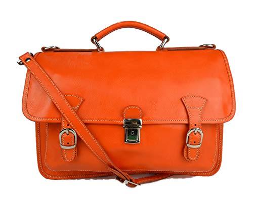 Carpeta de cuero bolso de hombre bolso de mujer mochila de piel bolso de cuero messenger bolso de espalda de piel naranja