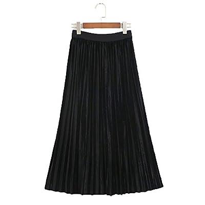 Hot YOUMU Vintage Women A Line Pleated Velvet Skirt Flare Swing Midi Calf Dress hot sale