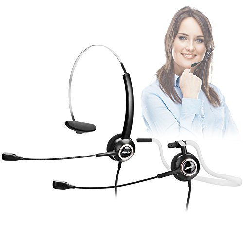 AGPtEK Noise Canceling Headset, Convertible RJ9 Earphone with Microphone & Adaptor, 2 Wearing Styles & Noise Canceling, Ideal for Office, Call Center & More