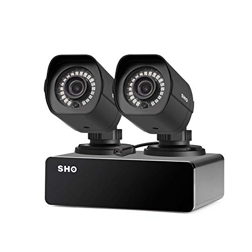 SHO 2 Pack Full HD 1080P Outdoor sPoE Security Camera w/8CH sPoE Repeater for Power & Data Transmission, Customizable Motion Detection(NVR not Included)-[Free 6-Month Cloud Service for Recording]