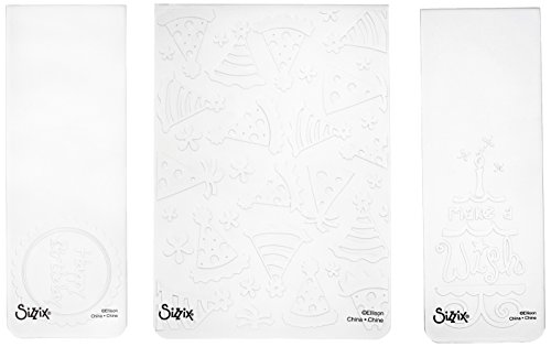 - Sizzix 656987 Textured Impressions Embossing Folders, Birthday Set #5 by Rachael Bright, Pack of 3, White