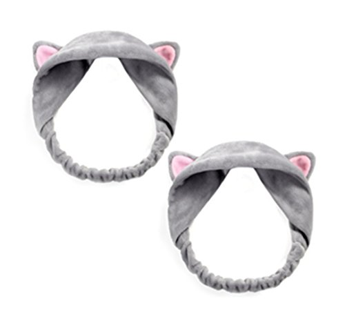 SAKUYV Girl's Makeup Cat's Ear Etti Hair Band for Sports,Yoga & Spa,Pack of 2 (Kids Cat Makeup)