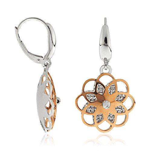 Gioiello Italiano Boucles d'oreilles en or blanc et rose 14carats