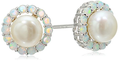 - Sterling Silver Round Off White Freshwater Cultured Pearl with Created Opal Accent Stud Earrings