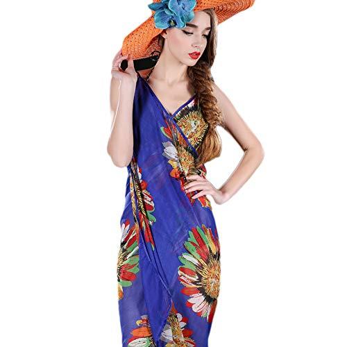 SODIAL Women Beach Dress Erogenous Sling Beach Wear Dress Sarong Bikini Cover-Ups Wrap Pareo Skirts Towel Open-Back Swimwear Blue