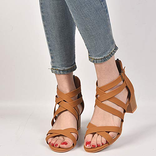 CCOOfhhc Womens Gladiator Open Toe Heeled Sandals Criss Cross Strap Ankle Wrap Zipper Sandals Summer Beach Thongs Sandals Brown by CCOOfhhc (Image #6)
