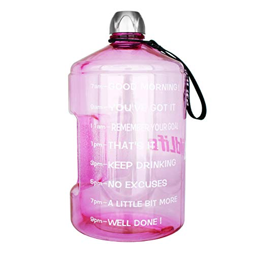 (1 Gallon Water Bottle Motivational Fitness Workout with Time Marker |Drink More Water Daily | Clear BPA-Free | Large 128 Ounce/73OZ/43OZ of Water Throughout The Day (1 gallon-light pink, 1 gallon))