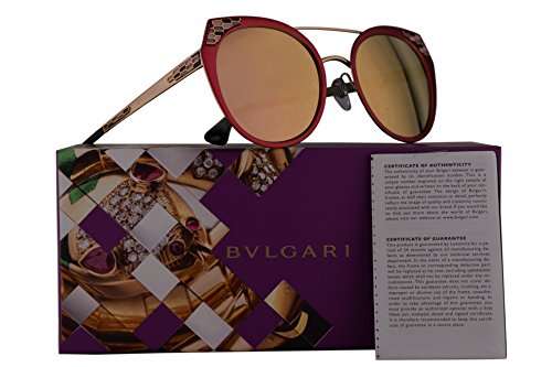 Bvlgari BV6095 Sunglasses Semi Matte Pink w/Grey Mirror Rose Gold 53mm Lens 20274Z BV - Semi Sunglasses Aviator Rimless 59mm