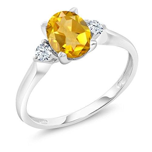 Ring 3 Cut Citrine Stone (10K White Gold Yellow Citrine and White Created Sapphire 3-Stone Women's Ring (1.40 Ctw, Available in size 5, 6, 7, 8, 9))