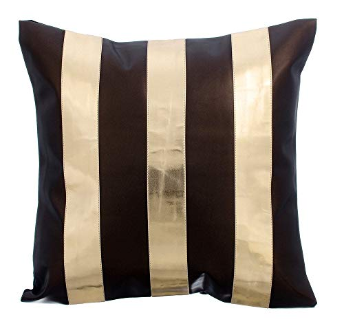 Brown Throw Pillow Covers, Metallic Leather Stripes Color Blocking Throw Pillows Cover, 16x16 Inch Throw Pillows Cover, Square Faux Leather Pillowcase, Striped Modern Cushion Covers - Alternating - Leather Brown Metallic