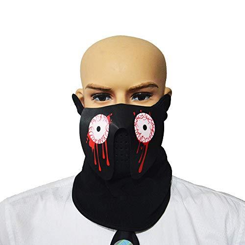 Halloween Sound Reactive Half Face LED Light Up Mask Dance Rave EDM Party ()
