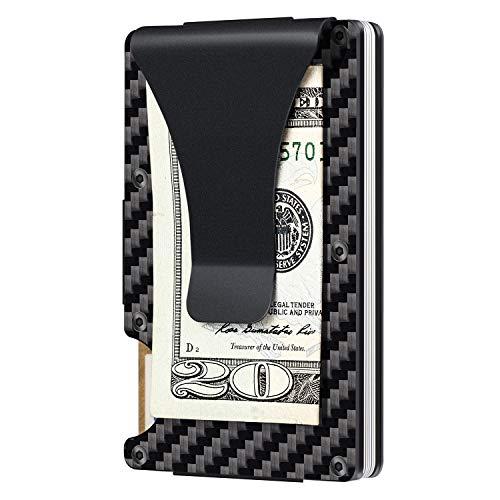 Carbon Fiber Aluminum Metal Wallet Money Clip RFID Minimalist Wallet, Slim Wallet (Carbon Fiber)