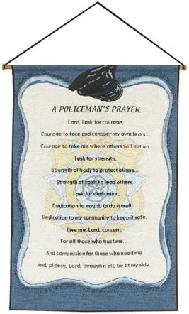 Manual Weavers Blue A Policeman s Prayer Religious Verse Wall Art Hanging Tapestry 17 x 25