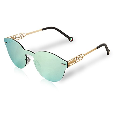 Mulco Sunglasses Green Revo Mirror Shades Frameless Round/Mask Shape | 100% UV Protection | Laser Cut Gold Arm With Black Rubber Finishing Web MK - Shades Frameless