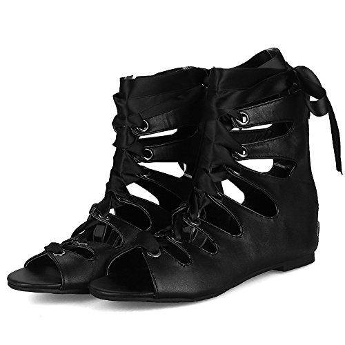 para DecoStain Sandalias 5 con puntera negro diseño para mujer roma fino de pimienta decoración de con talón hebilla qSqFwvU