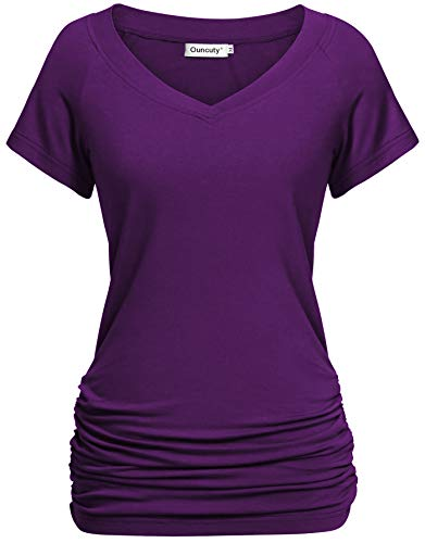 Ouncuty Business Casual Clothes for Women,Youth Nice Short Sleeve Flowy Pack Fitness Tops Teen Girls Pretty Awesom Comfortable Relaxed Pullover Knitted Smooth Athleisure Wear Workout Clothes Purple L (Nice Youth T-shirt)