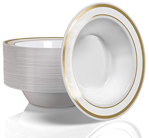 50 Plastic Bowls Set - Service for 50 Disposable 12 Ounce Bowls for Weddings, Parties, Catering & Everyday Use (Gold Rim)