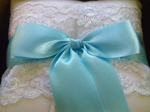 RaeBella Weddings & Events New York Beverly Clark White Lace Ring Pillow with Satin Tropic Aqua Blue Ribbon 223B ()