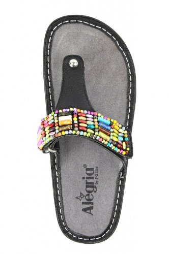 Party Bead Wedge Women's Sandal Black Alegria Carina 1wqxF7nO8