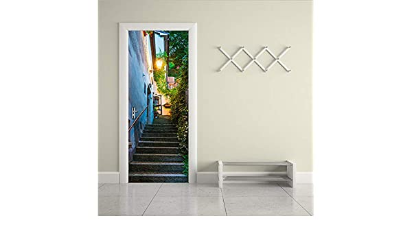 Ruifulex Pegatinas para Puertas Color Old Street Door Art Decor ...