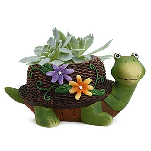 (Garden Turtle Statue Flower Planter Pot Outdoor Landscape Decor Lawn Decorative Family Green Zen Box Indoor Welcome Succulent Cactus Herb Balcony Plant Basket)