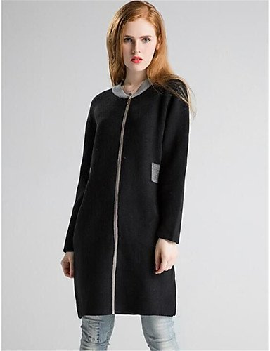 Polyester Xuanku Fall Casual elastic Black Micro Long Solid Daily Thick Cardigan Cotton Long Winter Neck Print Sleeves Women's Wool Round Simple rrwC6Zq