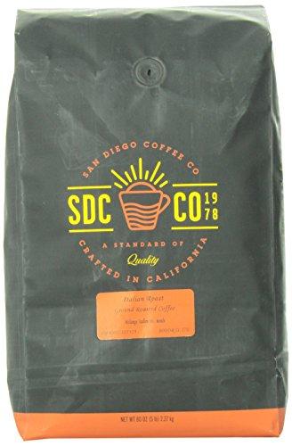 Amazon Lightning Deal 85% claimed: San Diego Coffee Italian Roast Ground Roasted Coffee 80-Ounce (5-Pound)