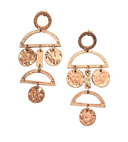 Buy Elements Partywear Ethnic Wear Geometric Shape Metal Disc Rose Gold Earrings For Women At Amazon In