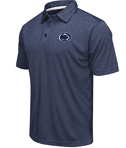 (Colosseum Men's NCAA Heathered Trend-Setter Golf/Polo Shirt-Penn State Nittany Lions-Heathered Dark)