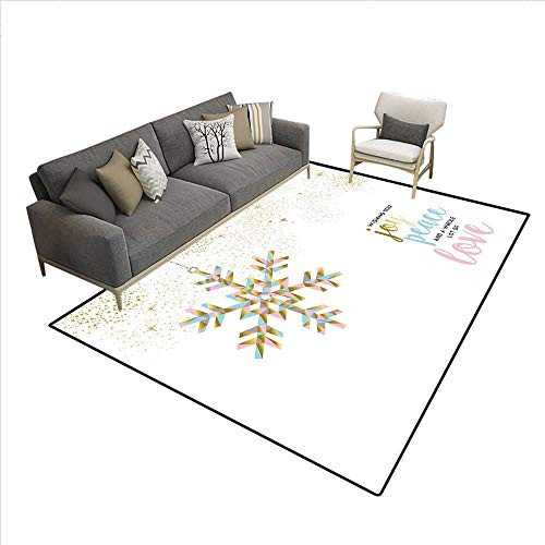 10' College Snowflake - Joy Rugs for Living Room Christmas Pattern with Polygonal Snowflake with Peace Love Quote Ornate Bath Mats for Floors Gold Baby Pink Pale Blue