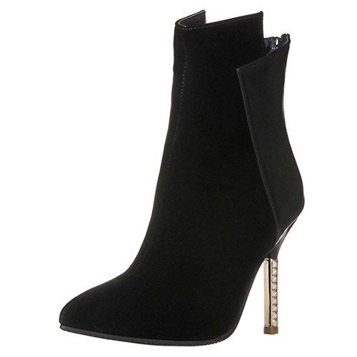 COOLCEPT Mujer Moda Stiletto Cremallera Vestir Fiesta Tobillo Botas Black