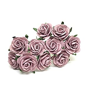 "1"" Mauve Paper Flowers Paper Rose Artificial Flowers Fake Flowers Artificial Roses Paper Craft Flowers Paper Rose Flower Mulberry Paper Flowers, 20 Pieces 9"