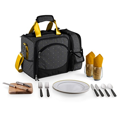 Picnic Time Laguna Insulated Cooler with Deluxe Picnic Service for Two, Anthology Collection (Cooler Cheese Wine)