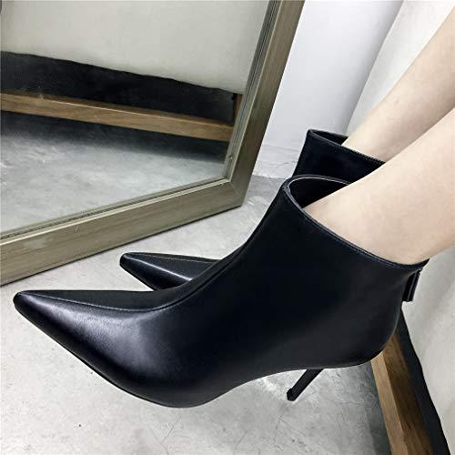 Para Cuero Zapatos Vestir Negro Botas De Noche Tacón Tobillo Y En Damas Formales Yan Aguja Moda Fiesta Mujer Punta qwfRStCxY