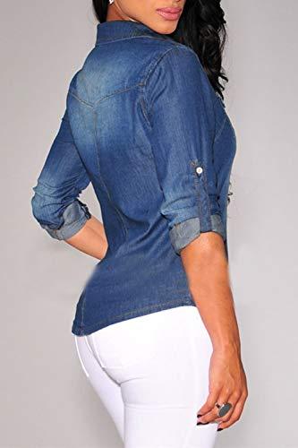 Femmes Vintage Manches Bleu Denim Lavage Bouton Moiti Blanchis Chemise l'acide rnrxzw8