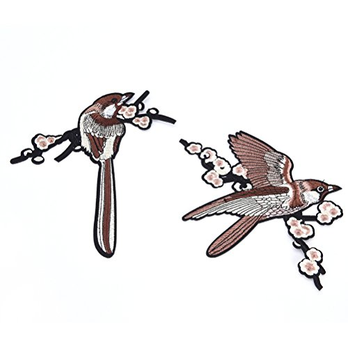 ESHOO DIY Sparrow Bird Embroidered Sew on Applique Patches for Shirts, Jackets, Scrap booking, Handbags Bird Embroidered Iron